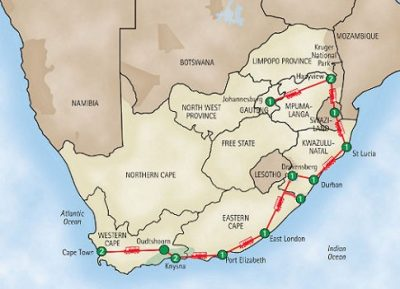 South Africa route map 2008