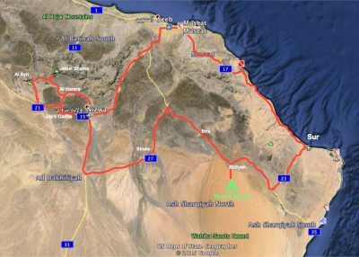 Map of our 4x4 drives in Oman,