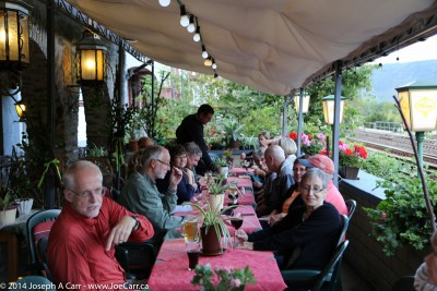 Our group having pre-dinner drinks on the patio few metres from the train tracks at Hotel Kranenturm
