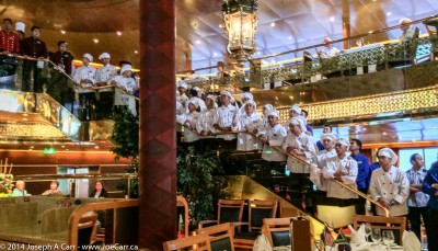 Parade of serving staff in the Rotterdam dining room
