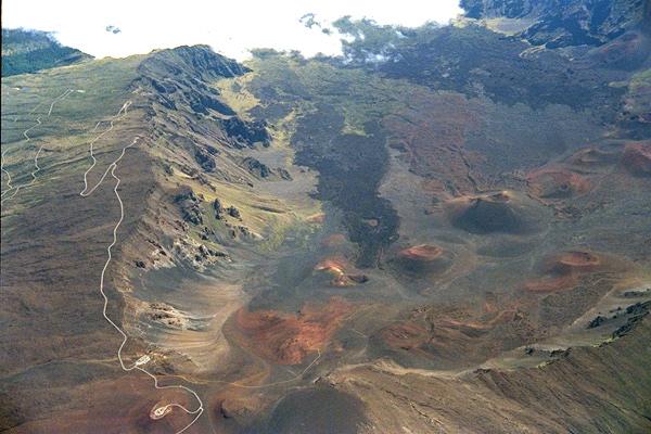 Aerial photo of Heleakela caldera