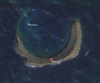 Molokini Islet - a satellite image