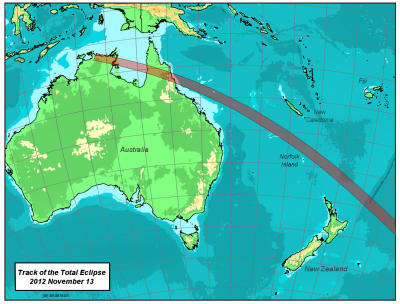 Map of 2012 Solar Eclipse track in the South Pacific