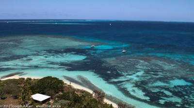 View of the lagoon from Amédée Lighthouse, Noumea, New Caledonia