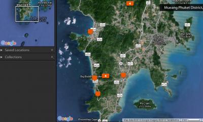 Map of my photos taken oh Phuket
