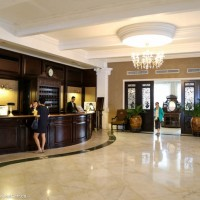 Front desk of the Eastern & Oriental Hotel - sister property to Raffles in Georgetown, Penang, Malaysia