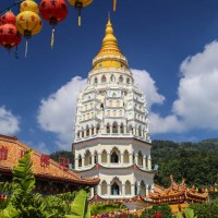 Tower and Chinese lanterns, Kek Lok Si Temple, in Georgetown, Penang, Malaysia