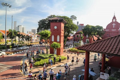 Dutch Square, including bell tower and Christ Church, Malacca, Malaysia