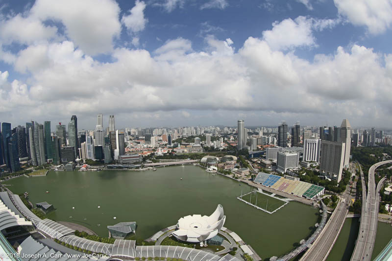 Marina Bay and the city skyline, View from the observation deck Marina Bay Sands hotel