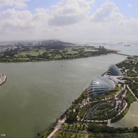 The Singapore Flyer, Singapore River, Gardens by the Bay, and ships in the harbour from the Marina Bay Sands hotel