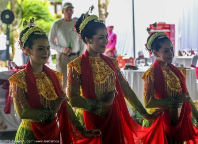Young women performing traditional Javanese dance for us at the Borobudur temple, Java, Indonesia