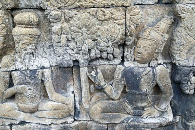 3-D relief stone carvings telling stories about Buddha, Borobudur temple Java, Indonesia