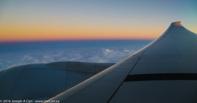 Pre-dawn light over the wing south of the Aleutian Islands
