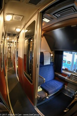 Looking into my Roomette aboard the Seattle to Sacramento Coast Starlight