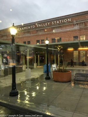 Sacramento Valley Station in the rain