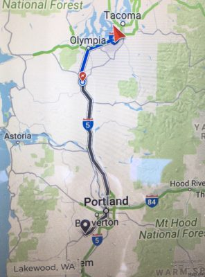Route from Lakewood, WA to Newberg, OR from Tesla in-vehicle navigation