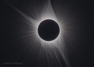Solar Corona & prominences - photo by John McDonald - used with permission