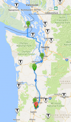 Victoria to Newberg - EV map