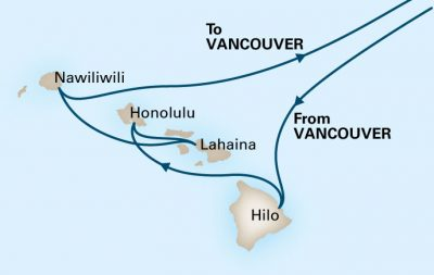 2017 Hawaii cruise route map