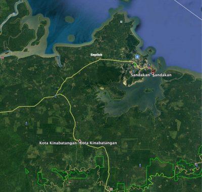 Kinabatangan, Sandakan & Sepilok area map