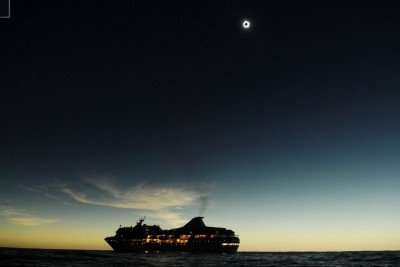 The Paul Gauguin in the Coral Sea during a Total Solar Eclipse