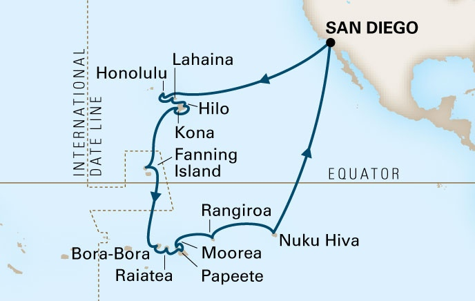2014 Hawaii-Polynesia Cruise map