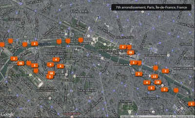 Map of photos taken in Paris