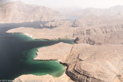 Musandam peninsula coastline from the air