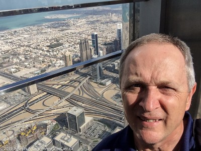 Joe takes a selfie on the Observation Deck of the Burj Khalifa in Dubai