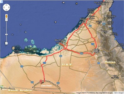 Map of our travels in the United Arab Emirates (UAE)