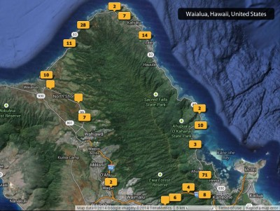 2014 Oahu North Shore photos map