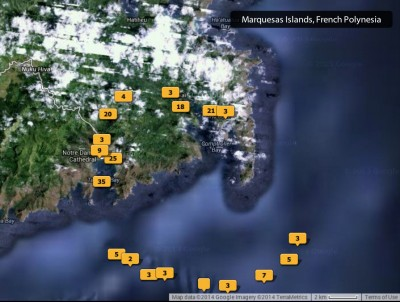 Map of the locations of my photos of Nuku Hiva