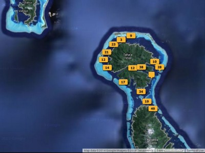 Map of my photos taken on Raiatea & Taha'a