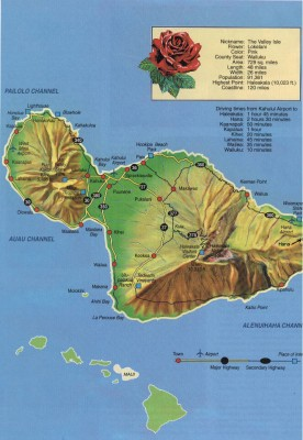 Map of Maui, Hawaii