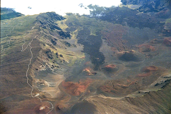 Aerial photo of Heleakela caldera