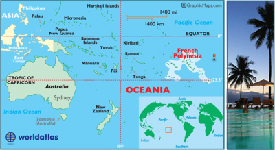 Map of the South Pacific, including French Polynesia