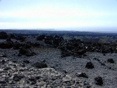 Black lava fields in South Kona
