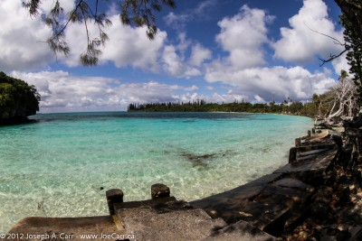 Kanamera Bay white sand beach and small island, Ile des Pins, New Caledonia