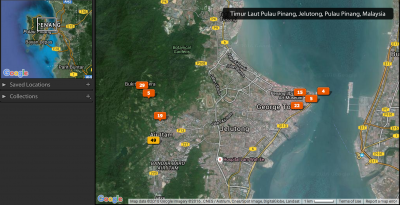 Map showing the photos I took in Penang