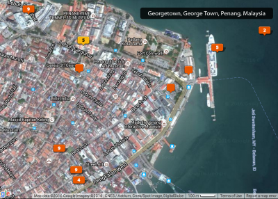 Map showing the location of my photos taken in Georgetown