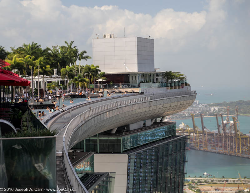The infinity pool at the top overlooking the city from Marina Bay Sands hotel