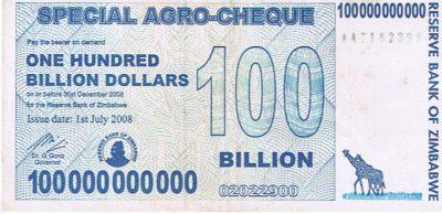 100 Billion Dollar Zimbabwe bank note