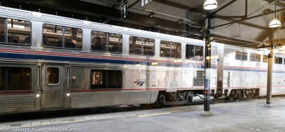 Dining and sleeping cars as the train pulls into the KIng St Station in Seattle