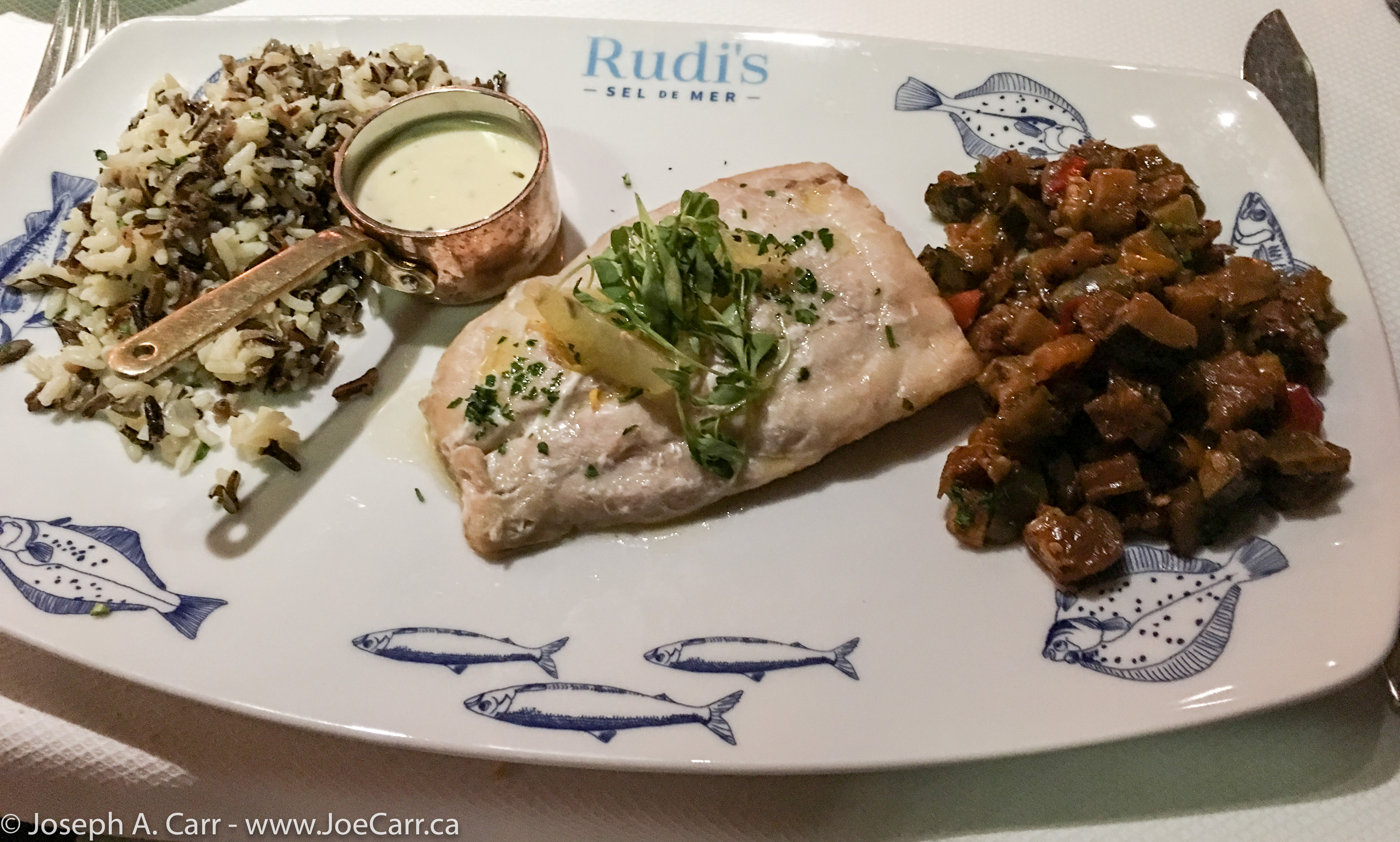 Salt Crust Baked Branzino with wild rice and ratatouille