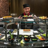 Sushi chef displaying his work in the Tamarind restaurant