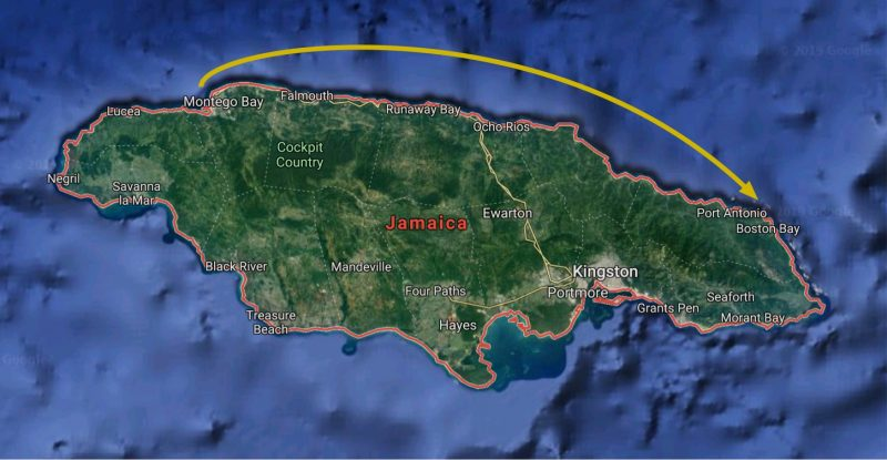 Overnight route of Royal Clipper from Montego Bay to Port Antonio, Jamaica