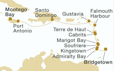 Map of Caribbean sail cruise from Montego Bay, Jamaica to Bridgetown, Barbados on the Royal Clipper