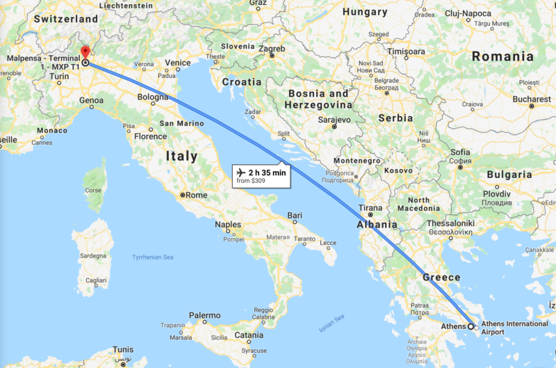 Flight map - Athens to Milan