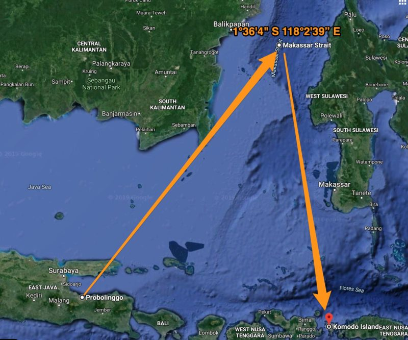 Map of ship's movement to and from eclipse centreline in the Makassar Strait