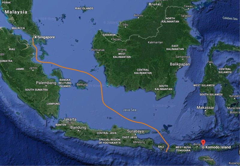 Volendam's route from Bali to Singapore